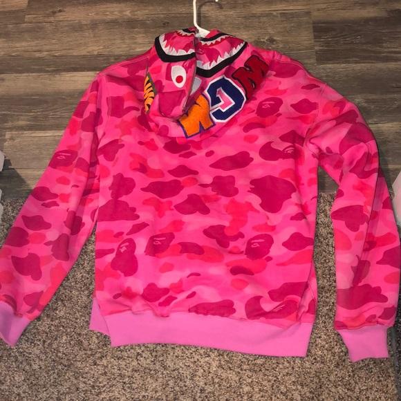 770a7e120219 Bape Tops - 🐵Pink camo BAPE bathing ape hoodie zip up jacket